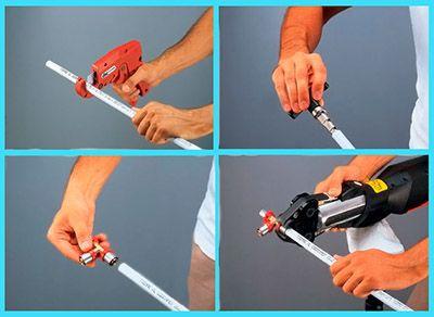 Подготовка труб перед опрессовкой соединений